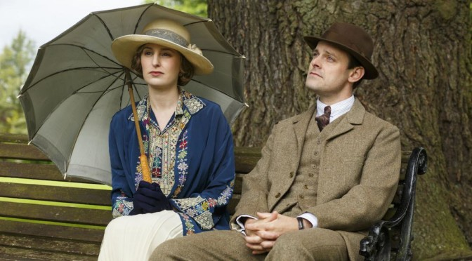Downton AbbeyPart Eight - Sunday,  February 21, 2016 at 9pm ET on MASTERPIECE on PBS Two romances get complicated. Molesley and Spratt try out new jobs. Thomas takes a fateful step. Mrs. Patmore provokes a scandal. Isobel puts her foot down. Shown from left to right: Laura Carmichael as Lady Edith and Harry Hadden-Paton as Bertie Pelham(C) Nick Briggs/Carnival Film & Television Limited 2015 for MASTERPIECE This image may be used only in the direct promotion of MASTERPIECE CLASSIC. No other rights are granted. All rights are reserved. Editorial use only. USE ON THIRD PARTY SITES SUCH AS FACEBOOK AND TWITTER IS NOT ALLOWED.